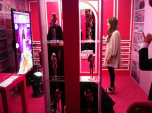 A customer using a virtual mirror in store